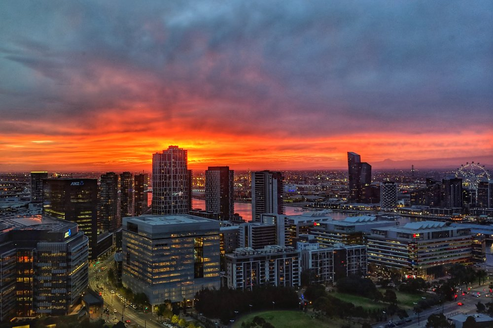 Sunset over Docklands, taken from the 29th floor of Collins Square.