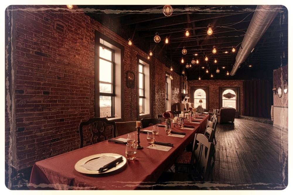 Tanglefoot Saloon - Private Restroom & Bar / Sleek DesignOur exclusive second floor party loft is an elegant space with exposed brick, hardwood floors, fanciful lighting, a rustic bar, and lots of old world character and charm. The perfect location for bachelor/bachelorette parties, rehearsal dinners, social gatherings and intimate concerts. We can arrange craft beer, spirit and wine tastings, paired dinners or other cocktail themed events that tie in the Old Western Saloon/Prohibition Speakeasy feel.CAPACITY: Standing- 75  Seated- 40