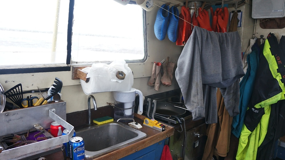 The galley on the F/V Potential is a multipurpose space!