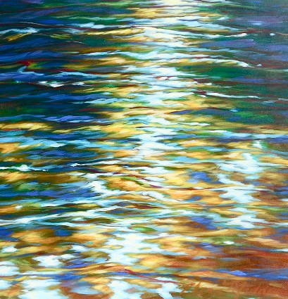 "Emerald river, flects of gold 24""x24"""