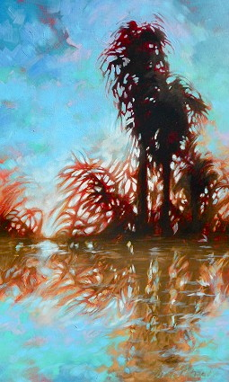 "Palms and moon 30""x48"""
