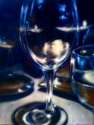 "Glass study, blue light 24""x24"""