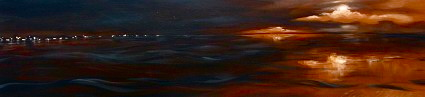 "Black night, gold light 12""x48"""