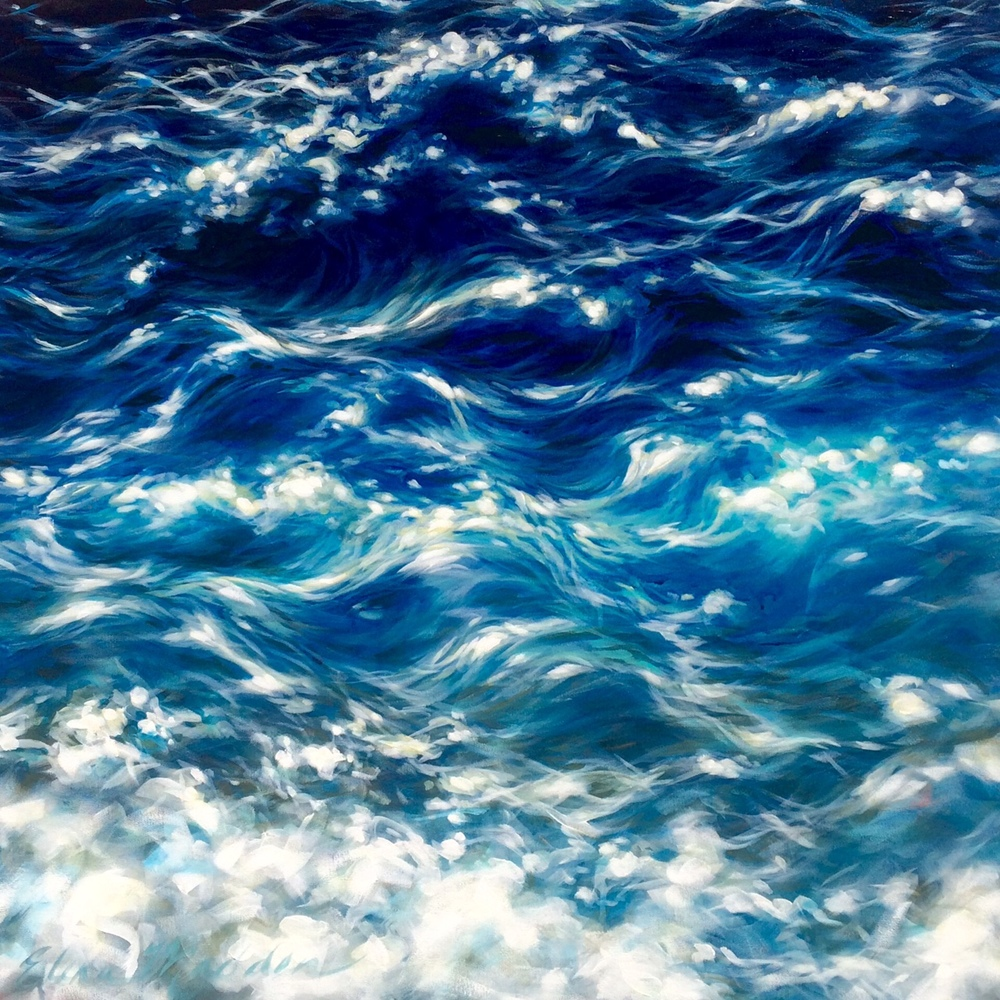 Waves of blue  36x36""
