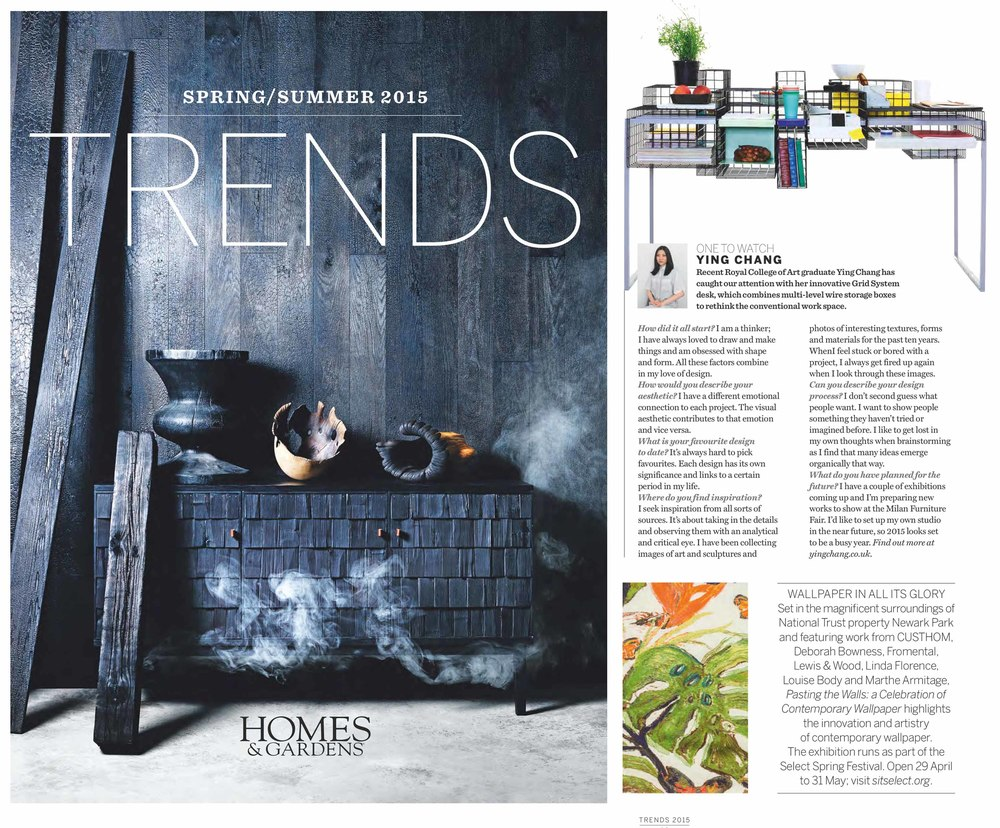 Homes & Gardens magazine, Trends, 'Shaking it up, the products and people currently making waves on the design scene' April 2015