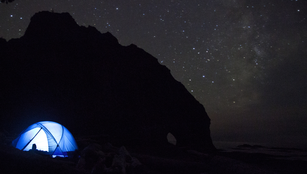 Our tent and the night sky at Hole in the Wall.