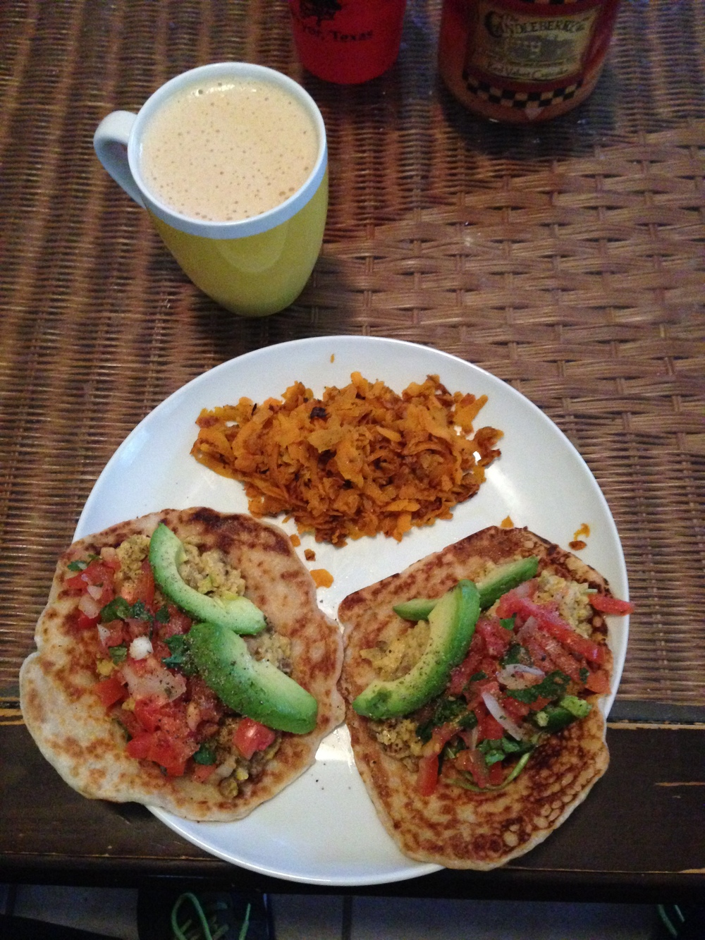 Who says Paleo isn't delicious? Bulletproof coffee with breakfast tacos and sweet potato hash. Tortillas made form coconut milk, tapioca flour and almond flour.