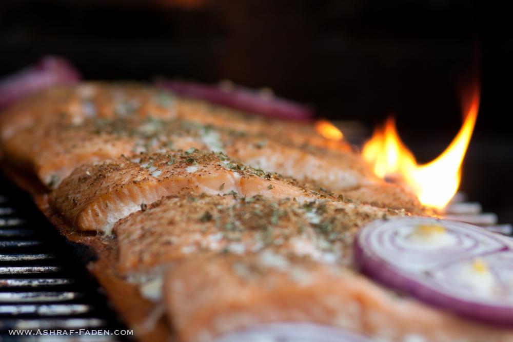 Grilled salmon on cedar wood.