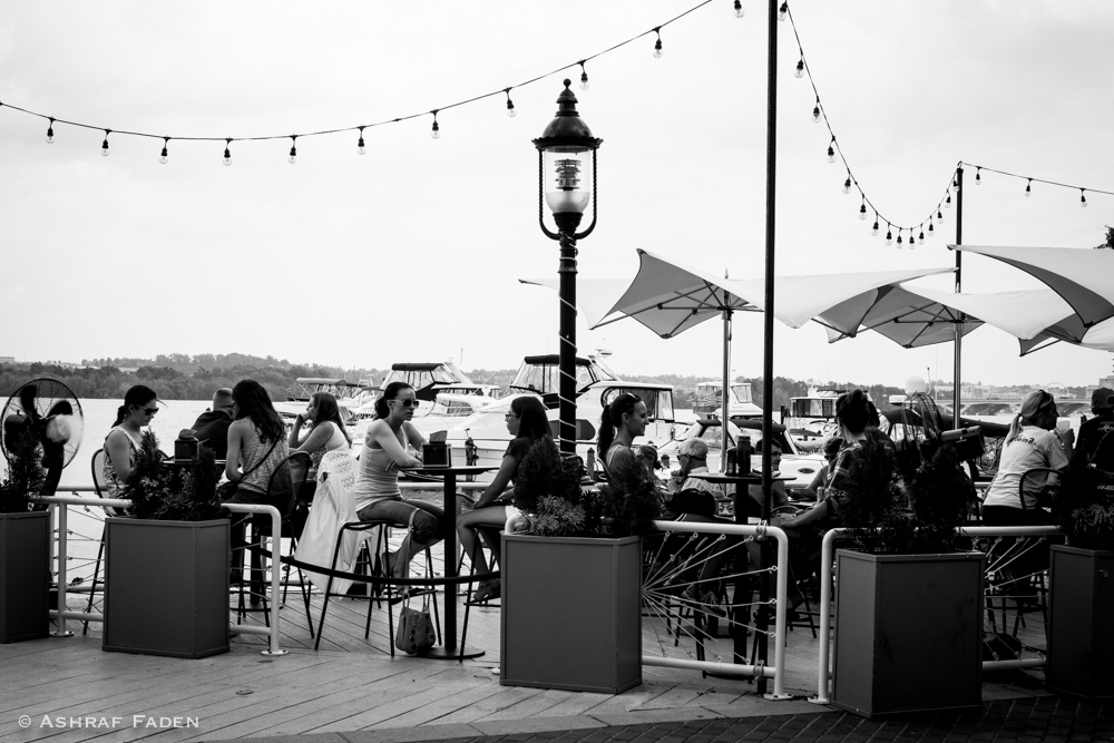 Outside seating at the waterfront.