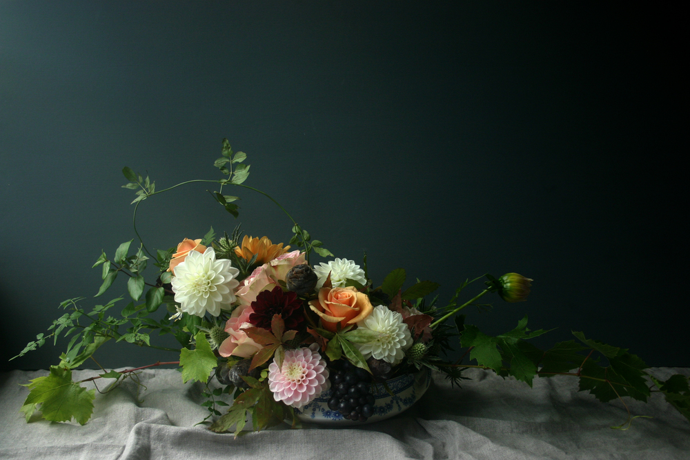 Roses and locally grown dahlias in vintage china by Bristol vintage