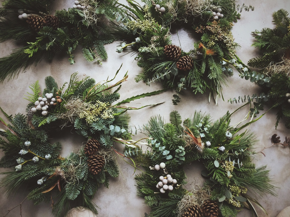 Wreaths in production