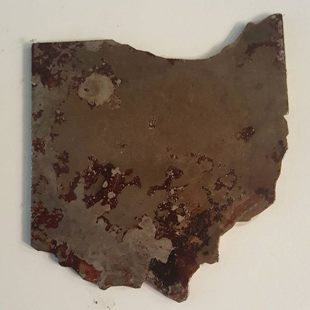 """Reclaimed Steel """"Ohio"""" coasters available at my Etsy shop.  www.hatcreekfurnitureco.etsy.com (Link in my bio) 10$ each or 35$ for 4, plus shipping. #etsyshop #etsy #ohio #ohiostate #buckeye #recycle #reclaimed #upcycle #putadrinkonit #handmade #rust"""