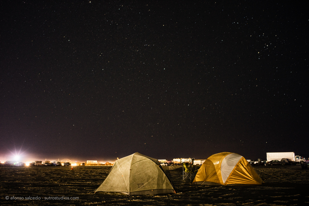 My very own tents set up during pre-event week. The night skies at Burning Man are some of the clearest you can imagine.