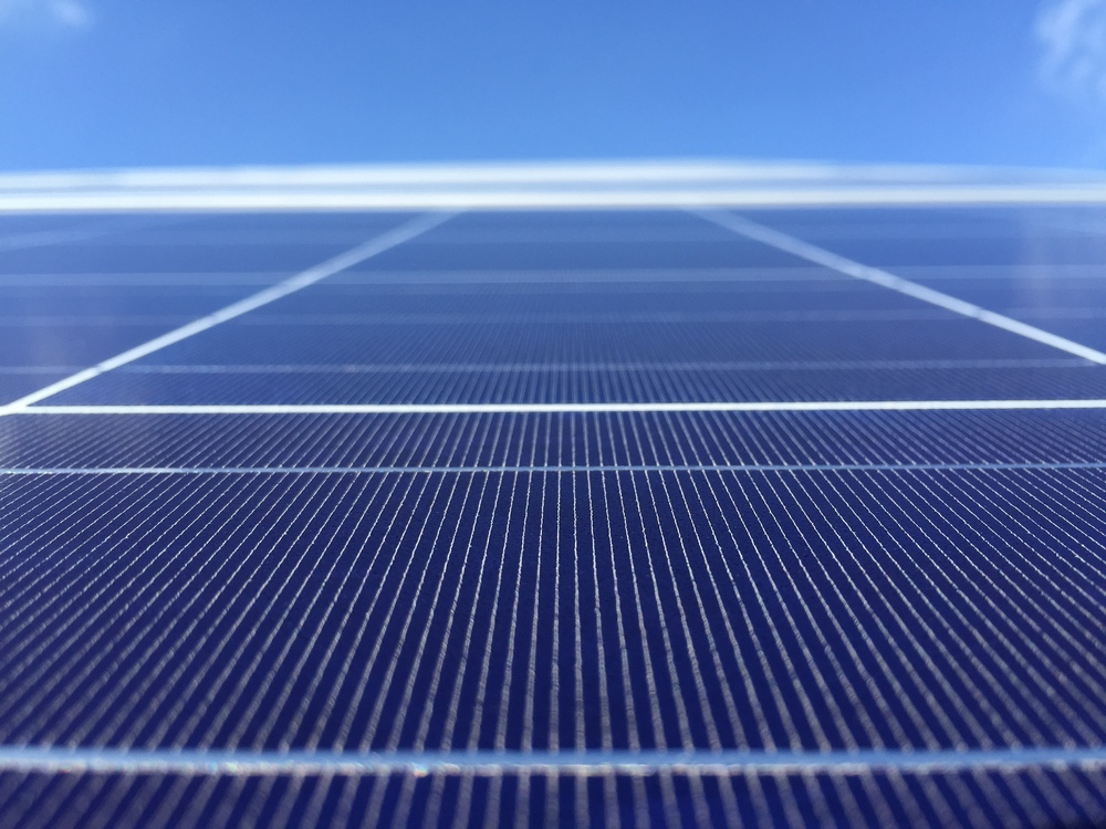 Closeupof one of the thousands of solar panels part of this new solar array at Houghton College, by Borrego Solar.