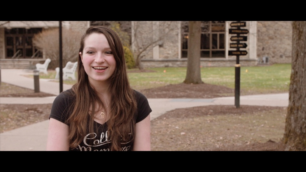 Another screen grab of the students we filmed at Houghton. We love playing with composition for the interviews. Outdoors always provides great flexibility and opportunities for cinematic backgrounds, and for guiding the eye in a subtle way.
