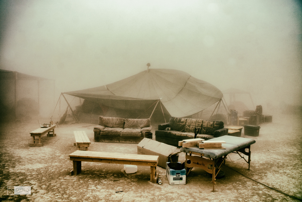 Massive storm at 7am on Saturday pre-event starts destroying a lot of camp sites around the Playa. The amount of dust in the air, is hard to process thanks to modern high-res photographic cameras.