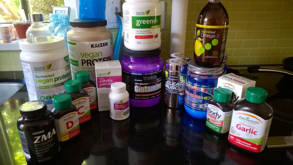 My injury-recovery supplement regime - 2 months' worth, for $600...ouch!