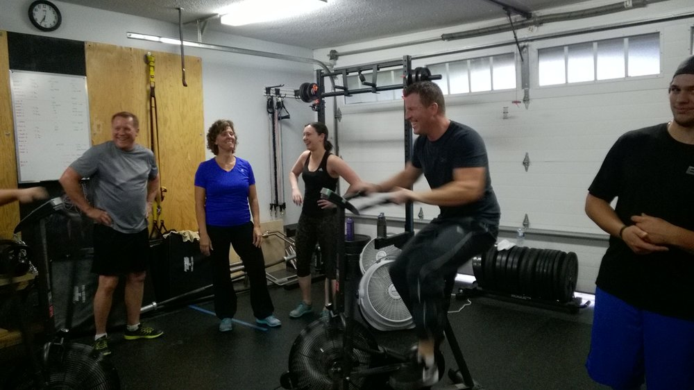 That's Cole, smiling away as he starts an Airdyne sprint...LOL