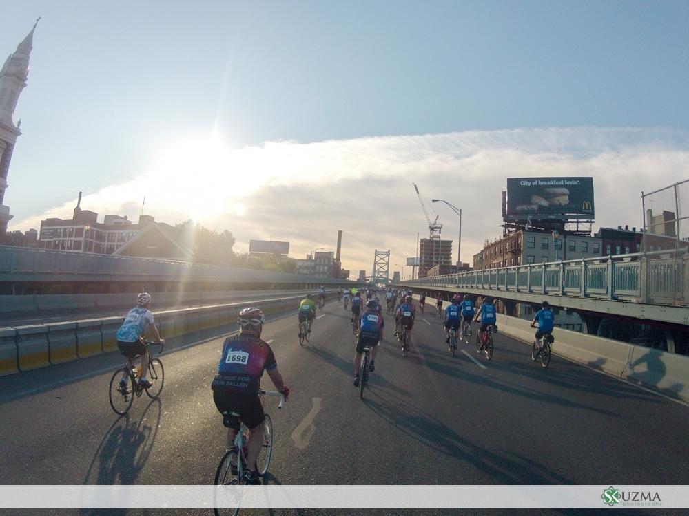Crossing the Ben Franklin Bridge - around 7:30am