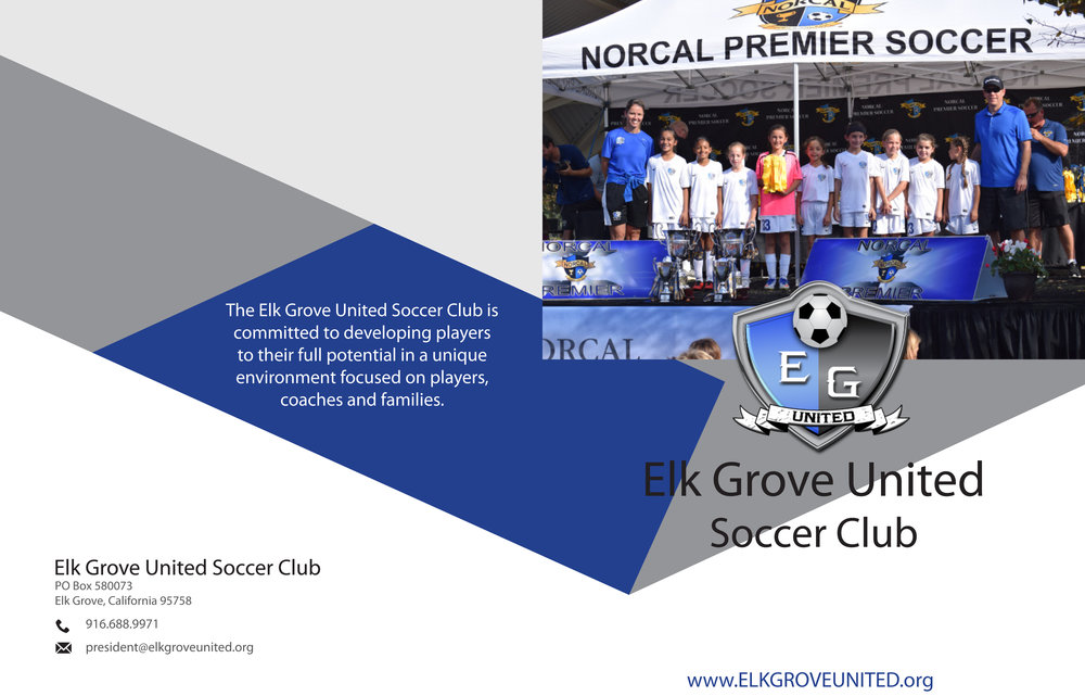 Page one of two of elk grove united soccer club information brochure