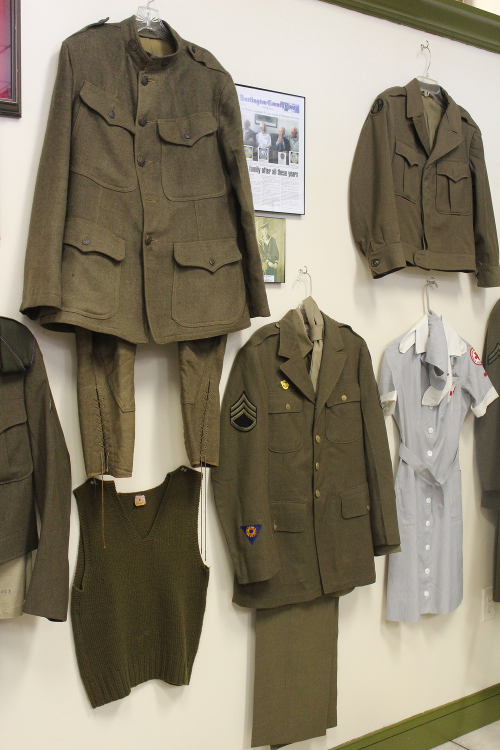 Some of the uniforms on display at the Veterans Cafe & Grille. The one on the upper left dates back to World War I.