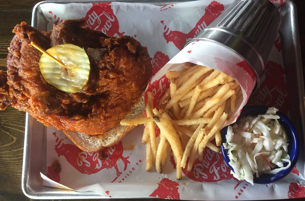 Party Fowl - Hot chicken (mild), french fries, and cole slaw.
