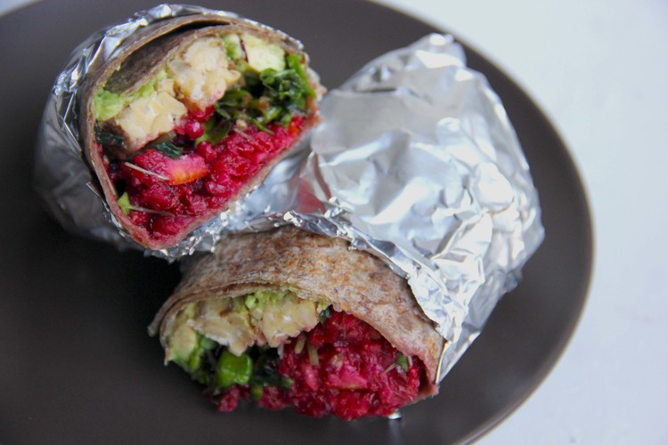 Curried Coconut Tempeh Wraps with Zingy Cranberry Relish