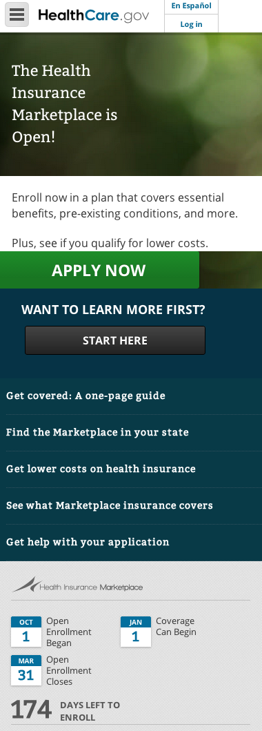 healthcare.gov (responsive mobile view)
