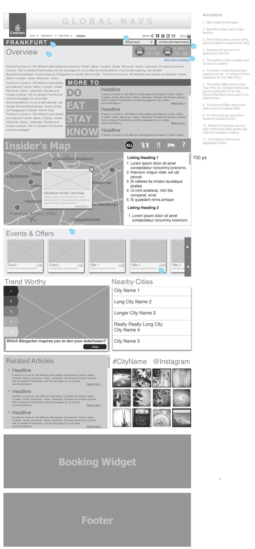 Destinations Page Concept