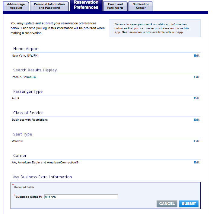 The above is an example of the fields found on aa.com, where you may enter it into your frequent flyer profile, which often results in an automatic 10% discount on select aa.com flights (adjusted in the prices listed in the booking engine).