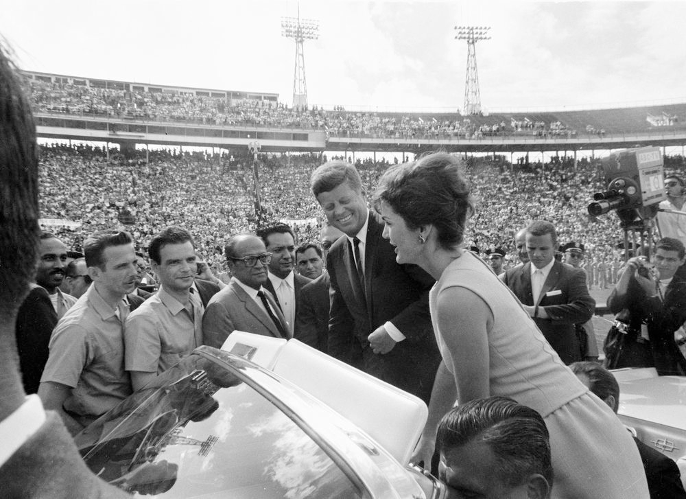 The President and first lady  welcome the free leaders of the Bay of Pigs brigade at a December 1962 Orange Bowl ceremony in Miami. Bobby Kennedy believed that the seeds of his brother's assassination lay in the CIA's relentless covert campaign against Cuba.   Courtesy   JFK Library