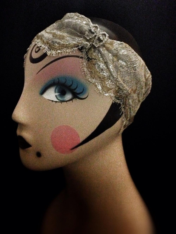 Sylvia Silver & gold lace 1920's weddingbandeau