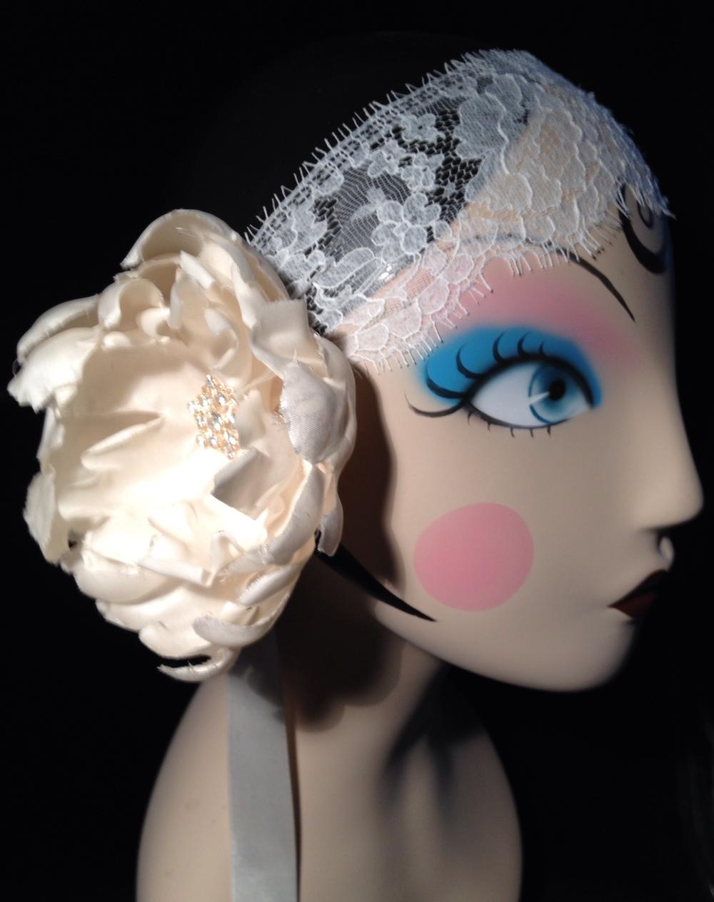 Elsa 1920 silk flower dimante lace headband .JPG