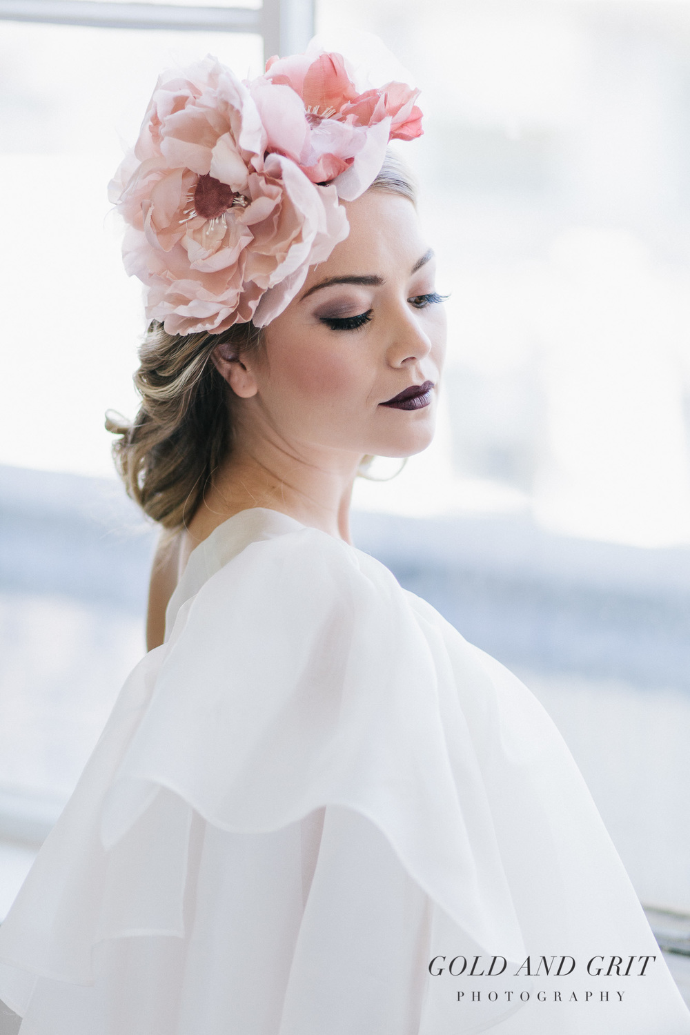 Pink silk flowers headpiece and Claudette cape