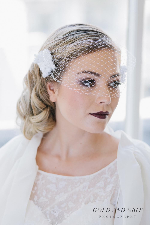 Bessie ribbon pearl birdcage wedding veil