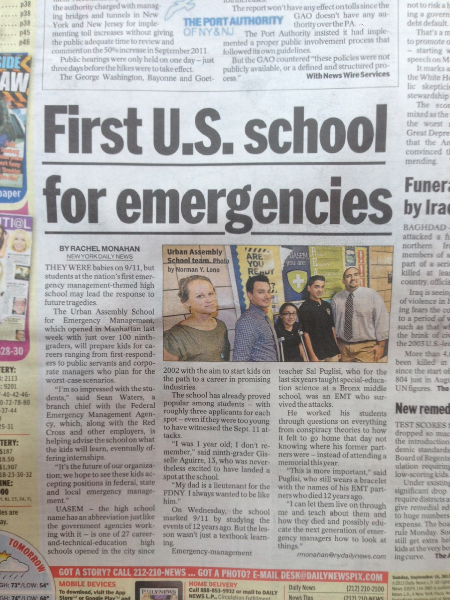 UASEM in the NY Daily News on September 16, 2013.