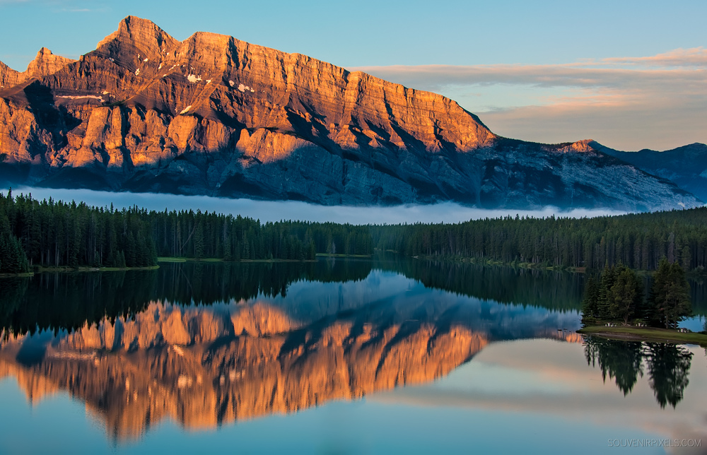 P0340-Orange Mountain Reflection in Lake Minnewanka-XLarge.jpg