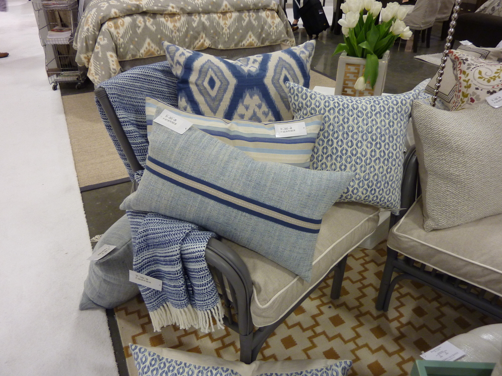 Eastern Accents pillows from Thom Filicia with indigo and linen.
