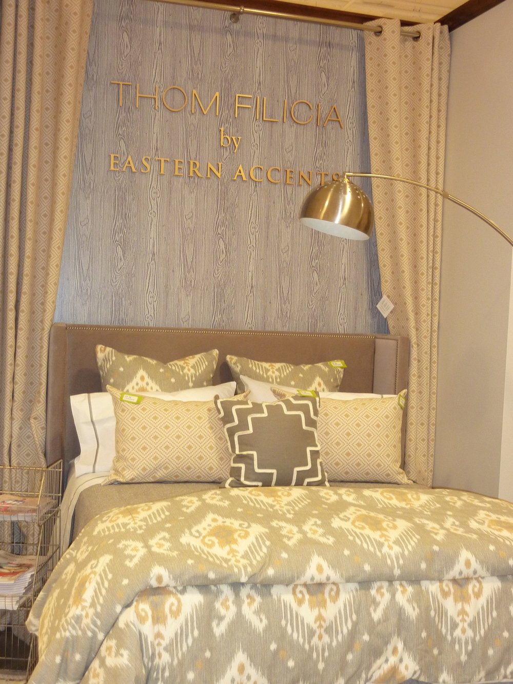 Gray, Gold,  Beige and black charcoal bedding from Eastern Accents which is all made in America.