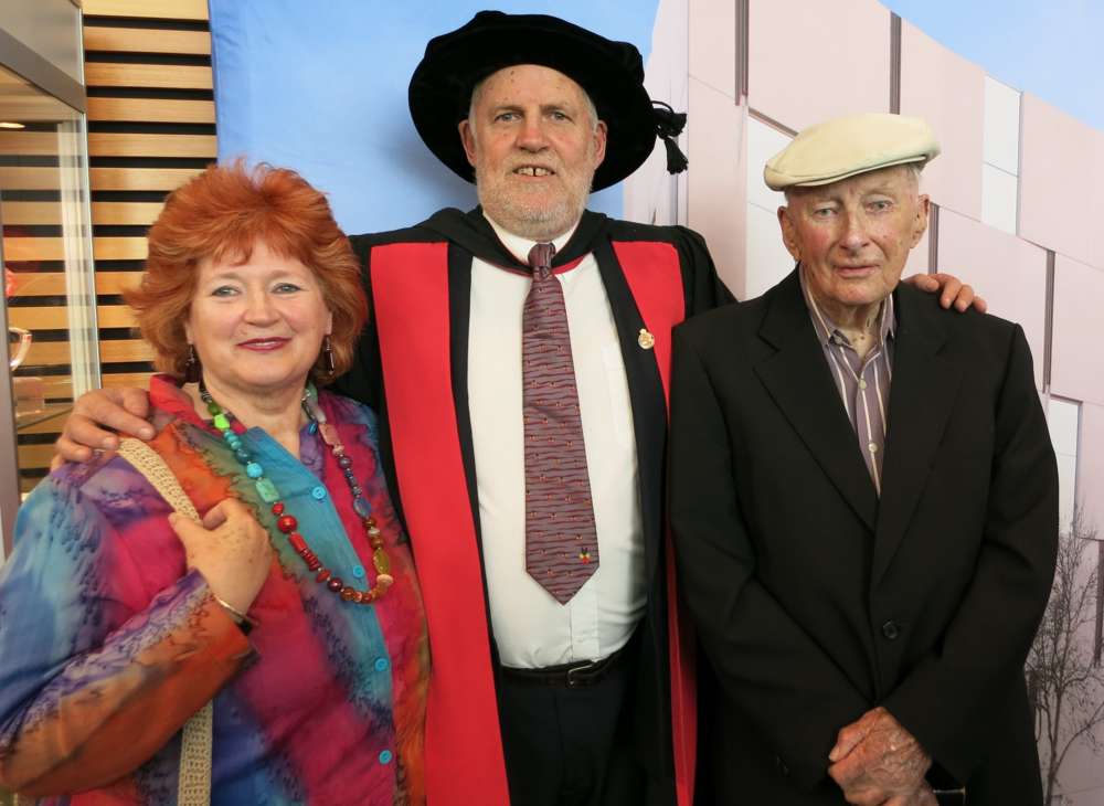 Dr Alan O'Connor with wife Joan and father Des.