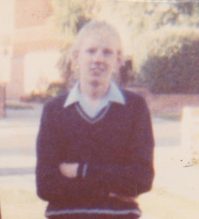 Tony off to school. 1983