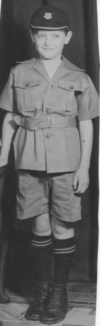 The original 'safari style' uniform worn by Junior school Marcellin boys in the 50s.