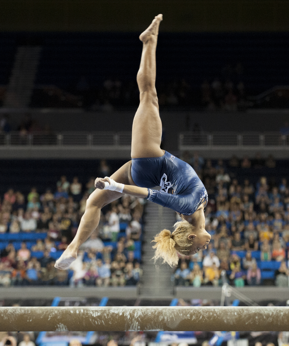 LOS ANGELES, CA – Freshman Danusia Francis performs on beam at the NCAA Gymnastics Team Finals at Pauley Pavilion on Saturday, April 20, 2013.