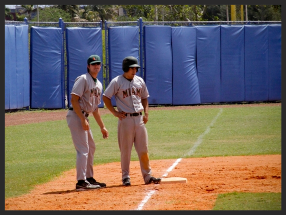 North coaching third base.