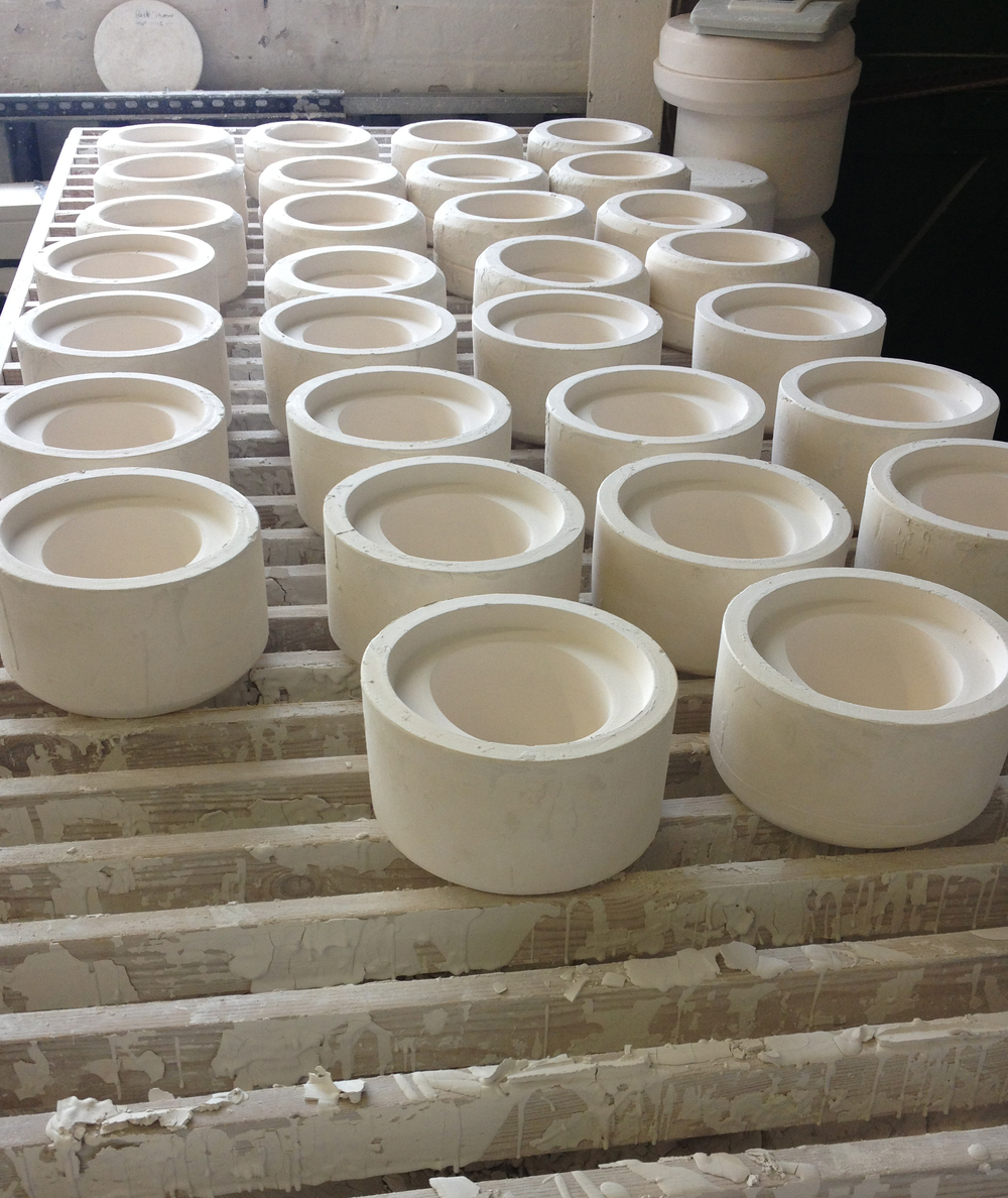 Moulds ready on the casting benches to be filled with slip