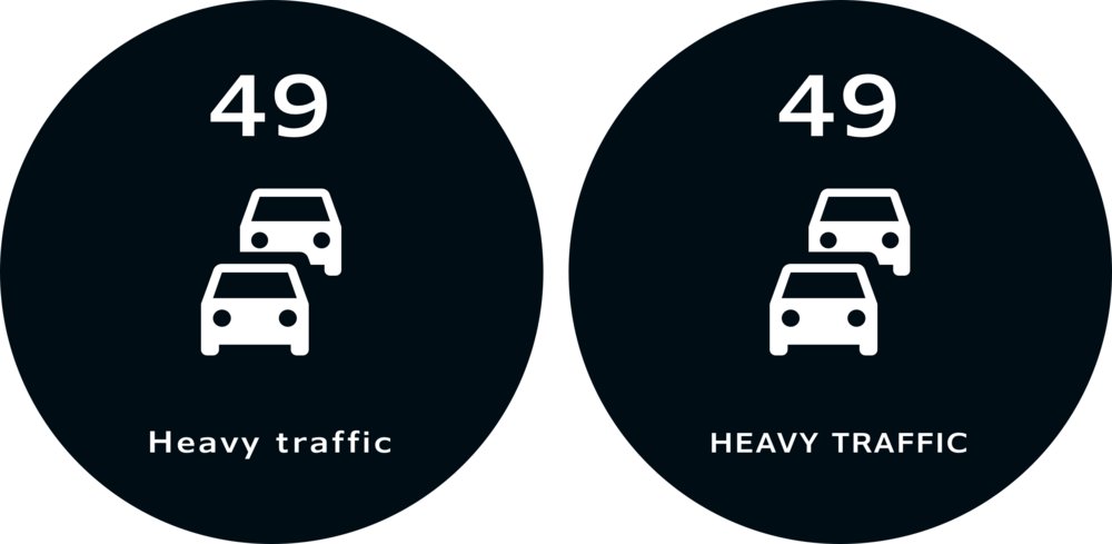 Comparison between lowercase and uppercase. Observe the legibility of the lowercase 'Heavy Traffic' information on the left.