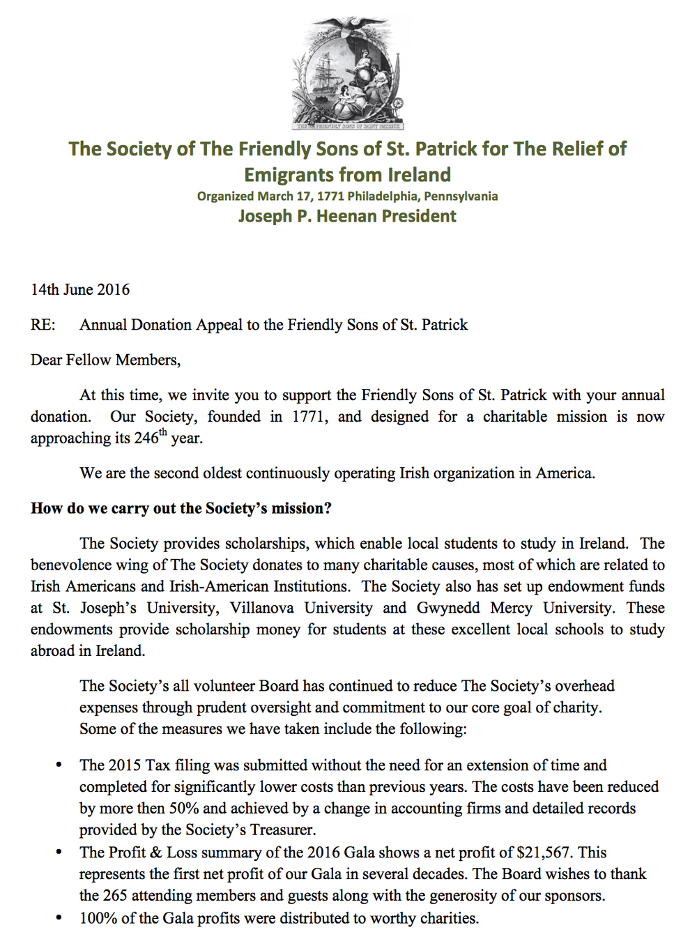 2016 Annual Donation Appeal Letter The Society Of The Friendly