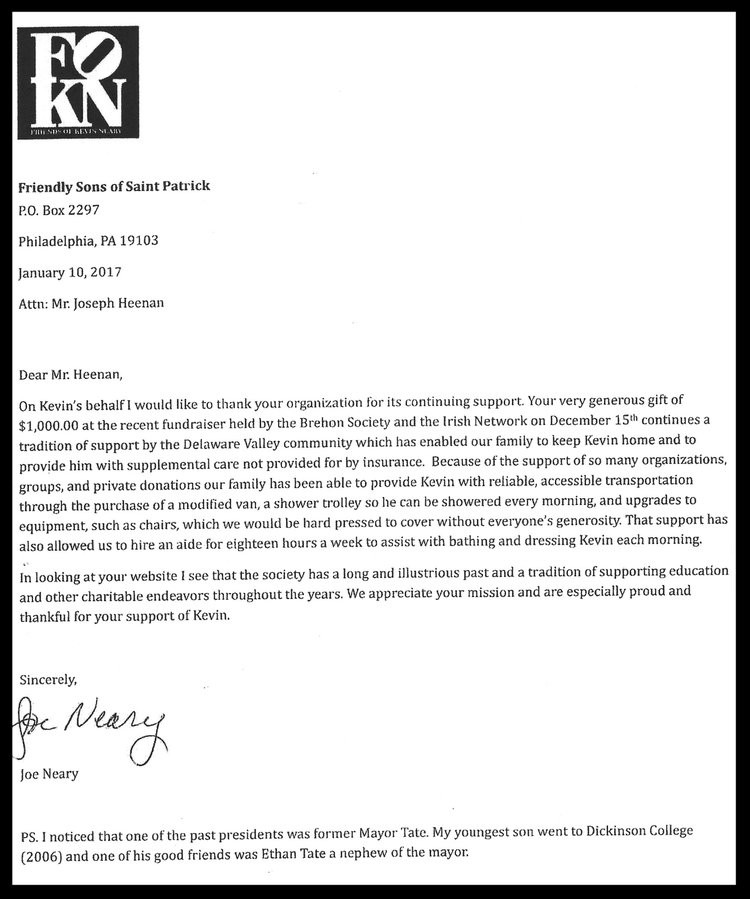 General letters of appreciation the society of the friendly sons kevin neary family letter of appreciationg spiritdancerdesigns Images