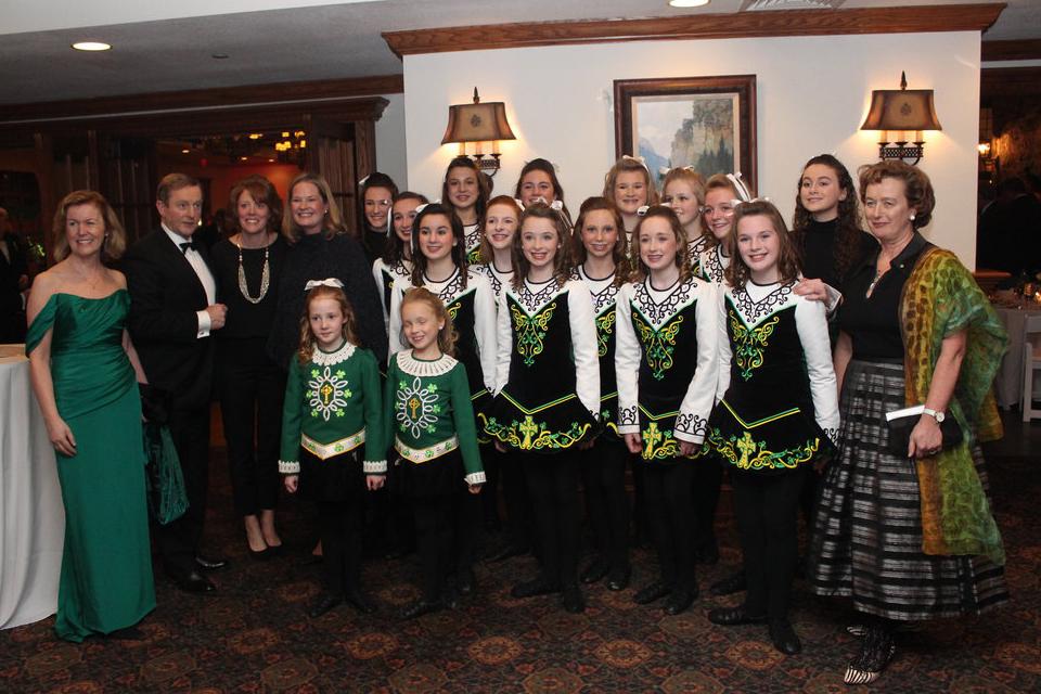 Irish Ambassador Anne Anderson; Taoiseach Enda Kenny; Consul General Barbara Jones [pictured at far right] greet the McDade Cara Dancers