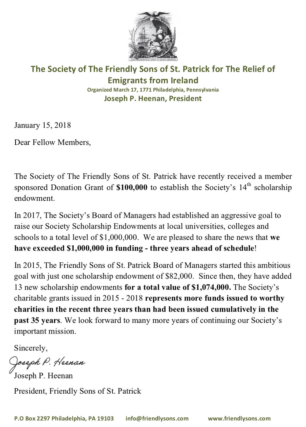 FSSP News Re Donation Grant of $100,000 and Society Exceeds $1,000,000 in Scholarship Endowments..jpg